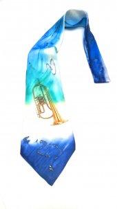El Yapımı İpek Kravat Flügelhorn Desenli