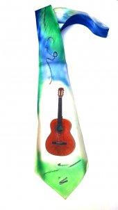El Yapımı İpek Kravat Klasik Gitar Desenli