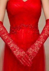 Merry See Kırmızı Uzun Dantel Gelin Eldiveni