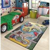 Confetti 133x190 Race Araba Yarış Anaokulu & Çocuk Odası Oyun Halısı