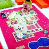 Ivi 160x230 Çocuk Odası Oyun Halısı Evcilik Pembe