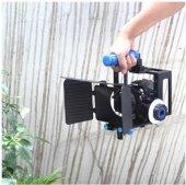 DSLR için Camera Cage + Follow Focus + Matte Box-8