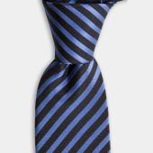 Mavi Siyah Çizgili İpek Kravat