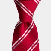 Beyaz Çizgili Kırmızı İpek Kravat