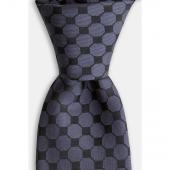 Siyah Geometrik Desenli Gri Kravat