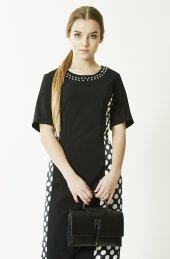 Büyük Beden Siyah Puantiyeli Elbise