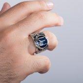 925 Ayar Gümüş Kayı Boyu Sancaklı Erkek Yüzüğü-2
