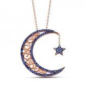 925 Ayar Gümüş Mavi Zirkon Taşlı Ay Yıldız Kadın Kolye