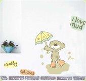 Duvar süsü (sticker) çamurlu ayı desen  pvc -2