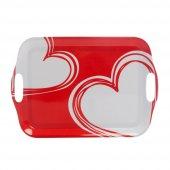 Kulplu tepsi kırmızı kalp desenli melamin