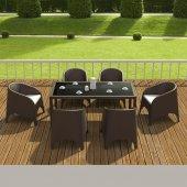 Siesta Arhiti Rattan 6 Sandalyeli Camlı Bahçe Balkon Masa Takımı
