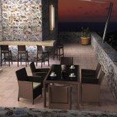 Siesta Tahinia Rattan 6 Sandalyeli Camlı Bahçe Balkon Masa Takımı