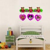 DP-1505L Oyuncak Ayı Fotoğraf Çerçevesi Sticker, Çocuk Odası Duva