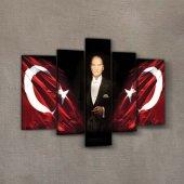 Atatürk 5 Parça Kanvas Tablo 135X85 Cm-5
