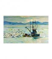 Fisherman 5 Parça Kanvas Tablo 135x85 Cm