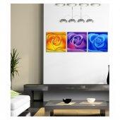 Three Roses 3 Parça Kanvas Tablo 40x120 Cm-3