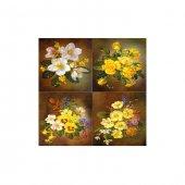 Floral Diversity 4 Parça Kanvas Tablo 70X70 Cm