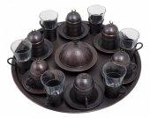 Altılı Suluklu Kahve Takımı (Bakır Eskitme)