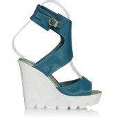 Uk Polo Club P64709 Kadın Topuklu Sandalet Zümrüt Yeşili