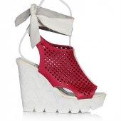 Uk Polo Club P64711 Kadın Topuklu Sandalet Fuşya Beyaz