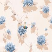 Fashıon Yaprak Mavi Çiçek Desenli Duvar Kağıdı