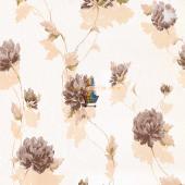 Fashıon Yaprak Kahverengi Çiçek Desenli Duvar Kağıdı