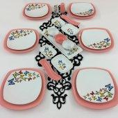 Keramika 24 Parça Pembe Kelebek Desenli Kahvaltı Takımı