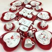 Keramika Kırmızı Kalp 36 Parça 6 Kişilik Kahvaltı Takımı
