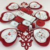 Keramika Kırmızı Kalp 25 Parça Kahvaltı Takımı