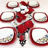 Keramika 6 Kişilik Dance Of Butterfly Red Kahvaltı Takımı
