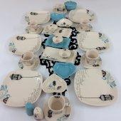 6 Kişilik Keramika Retro Turkuaz Kahvaltı Takımı