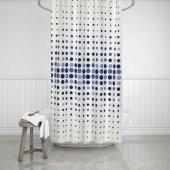 Zethome Evdy Banyo Duş Perdesi 4961 Çift Kanat Mavi 2x110x200
