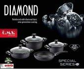 OMS Diamond 7 Parça Özel Kaplamalı Tencere Seti-2