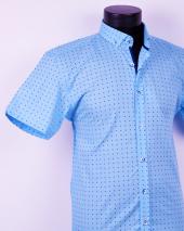 Ottomoda Desenli kısa kollu mavi erkek gömlek-2