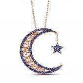 925 Ayar Gümüş Mavi Zirkon Taşlı Ay Ve Yıldız...