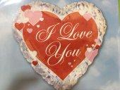 1 Adet Kalp Şeklinde I Love You Baskılı Folyo Balon 45 cm