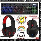 Frisby GAMEMAX GAMER-2 Multimedia Üçlü Işıklı Gaming Oyuncu Seti Işıklı Klavye Mouse Kulaklık Gaming Set Kampanyalı Fiyat