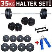 ECG Spor 35 kg Halter Dambıl Seti Ağırlık Seti Ağırlık Plakaları Fitness HEDİYELİ ÜRÜN-2