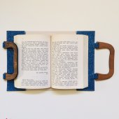 OkurGezer Kitap Kılıfı - Simli Mavi Ahşap Saplı-2
