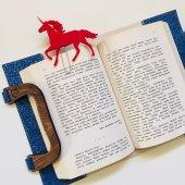 OkurGezer Kitap Kılıfı - Simli Mavi Ahşap Saplı-4