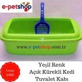 Açık Kürekli Kedi Tuvalet Kabı Yeşil