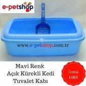 Açık Kürekli Kedi Tuvalet Kabı Mavi