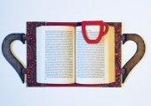 OkurGezer Kitap Kılıfı - Şal Desenli Kırmızı Ahşap Saplı-2