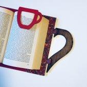 OkurGezer Kitap Kılıfı - Şal Desenli Kırmızı Ahşap Saplı-3