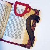 OkurGezer Kitap Kılıfı - Şal Desenli Kırmızı Ahşap Saplı-5
