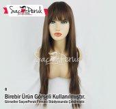 Kahverengi Düz Uzun Doğal Saç Görünümlü Fiber Sentetik Peruk #8