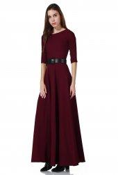Bordo Fakir Kol Maxi Uzun Bayan Elbise
