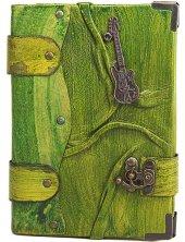 Deri Kaplı Yeşil Büyük Boy Gitar Figürlü Defter