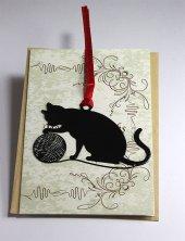 Kitap Ayracı Yumakla Oynayan Kedi