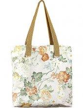 Tasarım Krem Rengi Kumaş Üzerine Çiçek Desenli Çanta